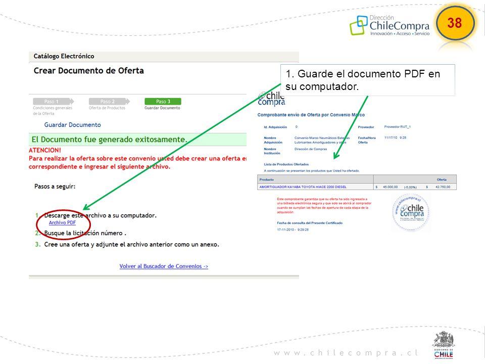 38 1. Guarde el documento PDF en su computador.