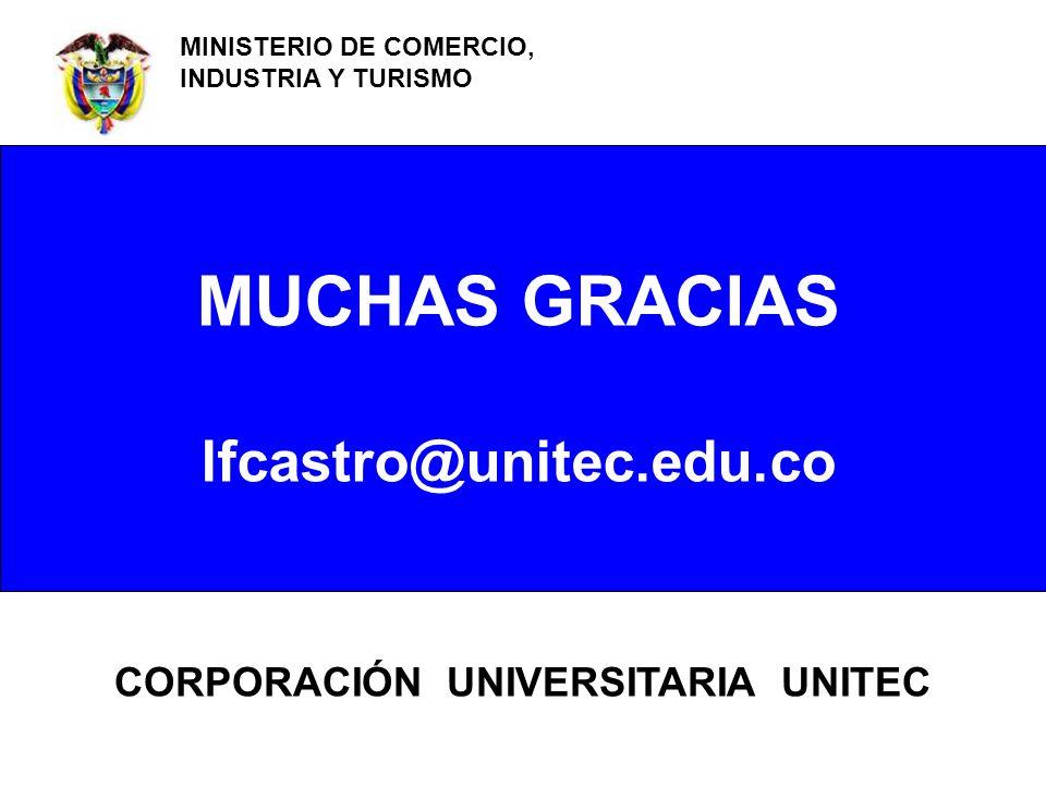 MUCHAS GRACIAS lfcastro@unitec.edu.co CORPORACIÓN UNIVERSITARIA UNITEC