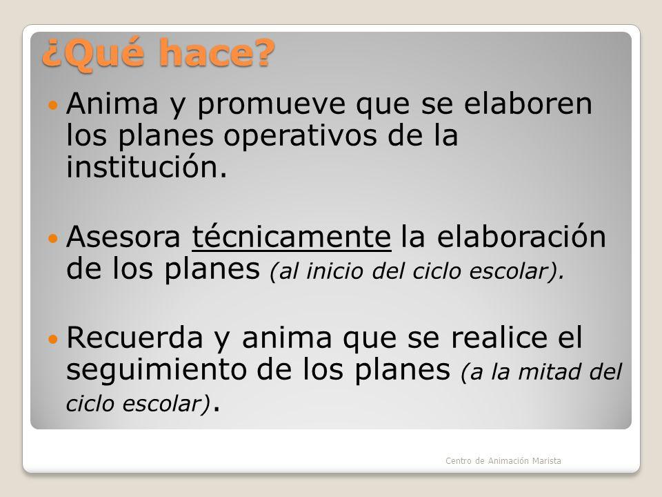 ¿Qué hace Anima y promueve que se elaboren los planes operativos de la institución.