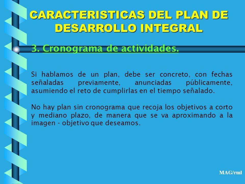 CARACTERISTICAS DEL PLAN DE DESARROLLO INTEGRAL