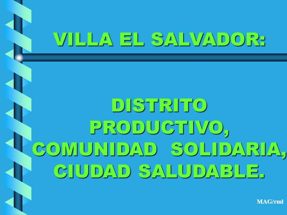 VILLA EL SALVADOR: DISTRITO PRODUCTIVO, COMUNIDAD SOLIDARIA,