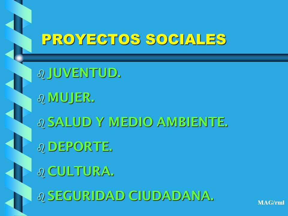 PROYECTOS SOCIALES JUVENTUD. MUJER. SALUD Y MEDIO AMBIENTE. DEPORTE.