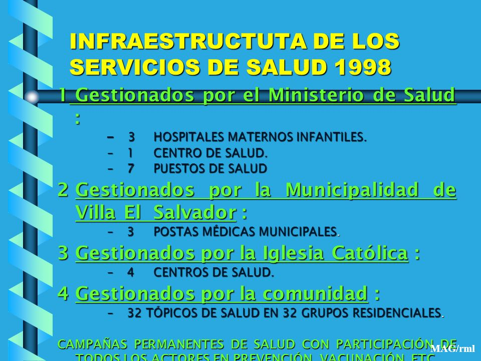 INFRAESTRUCTUTA DE LOS SERVICIOS DE SALUD 1998