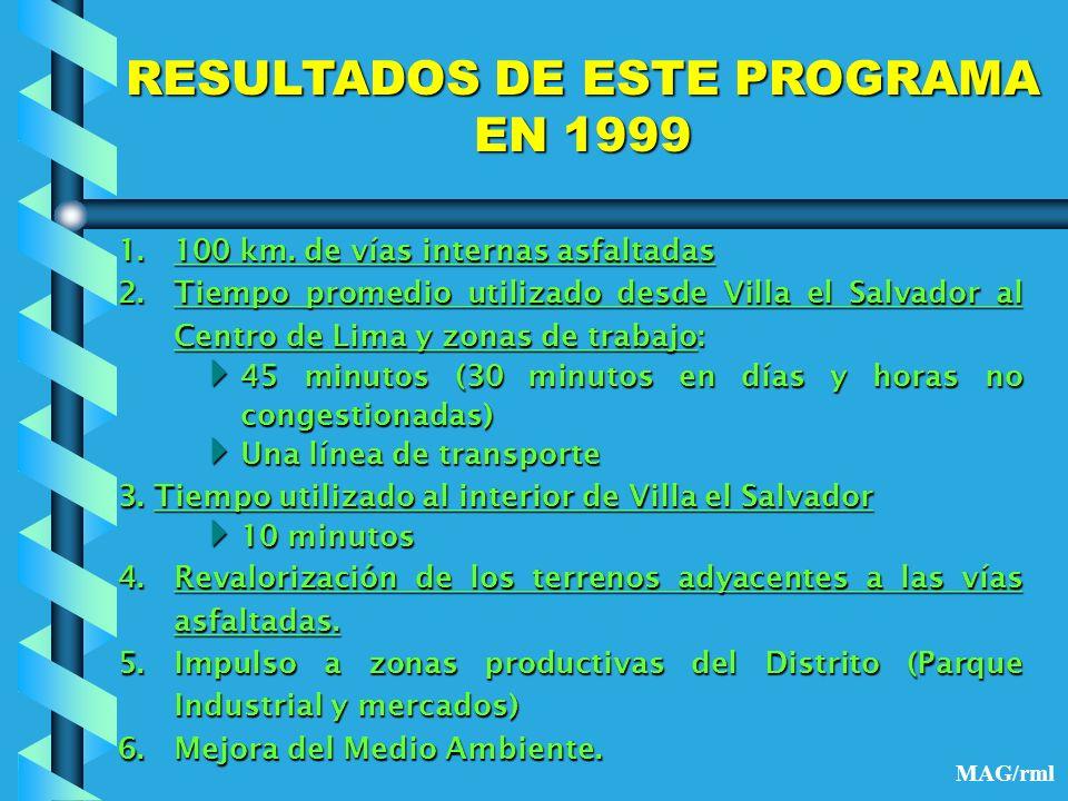 RESULTADOS DE ESTE PROGRAMA EN 1999