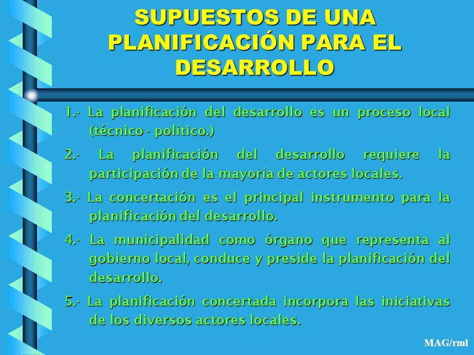 SUPUESTOS DE UNA PLANIFICACIÓN PARA EL DESARROLLO