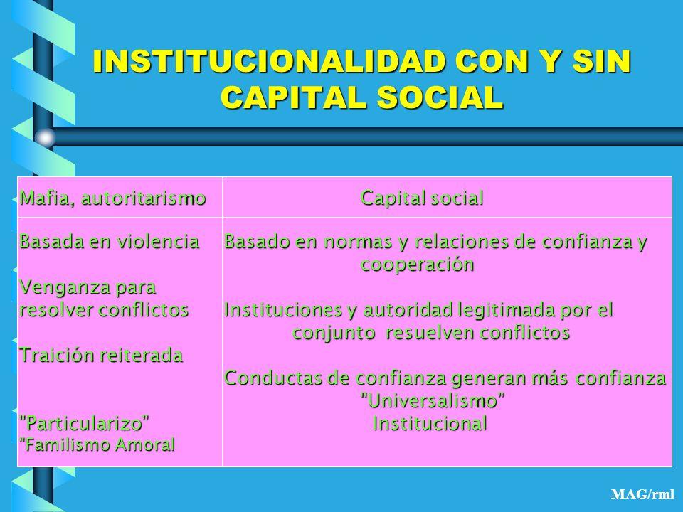 INSTITUCIONALIDAD CON Y SIN CAPITAL SOCIAL