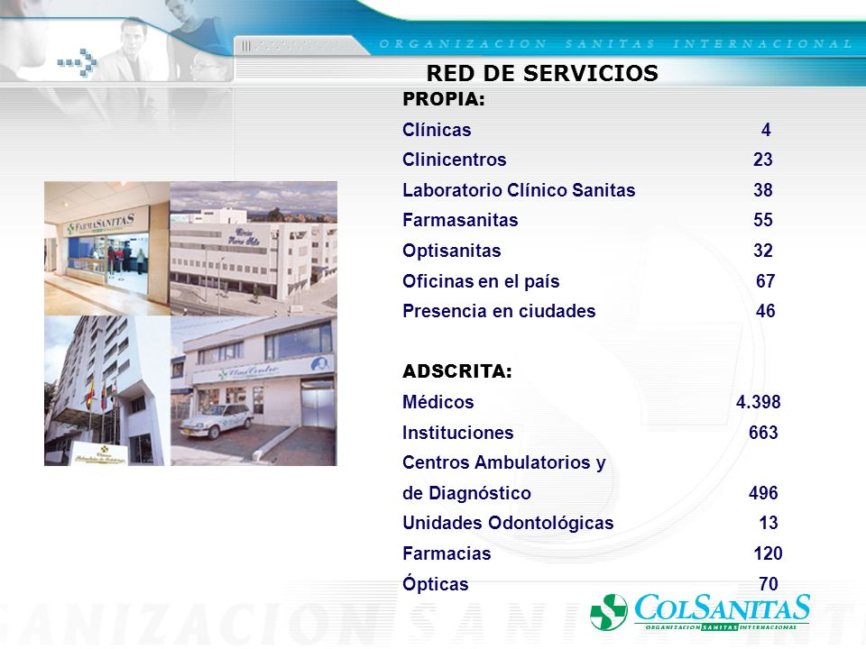 RED DE SERVICIOS PROPIA: Clínicas 4 Clinicentros 23