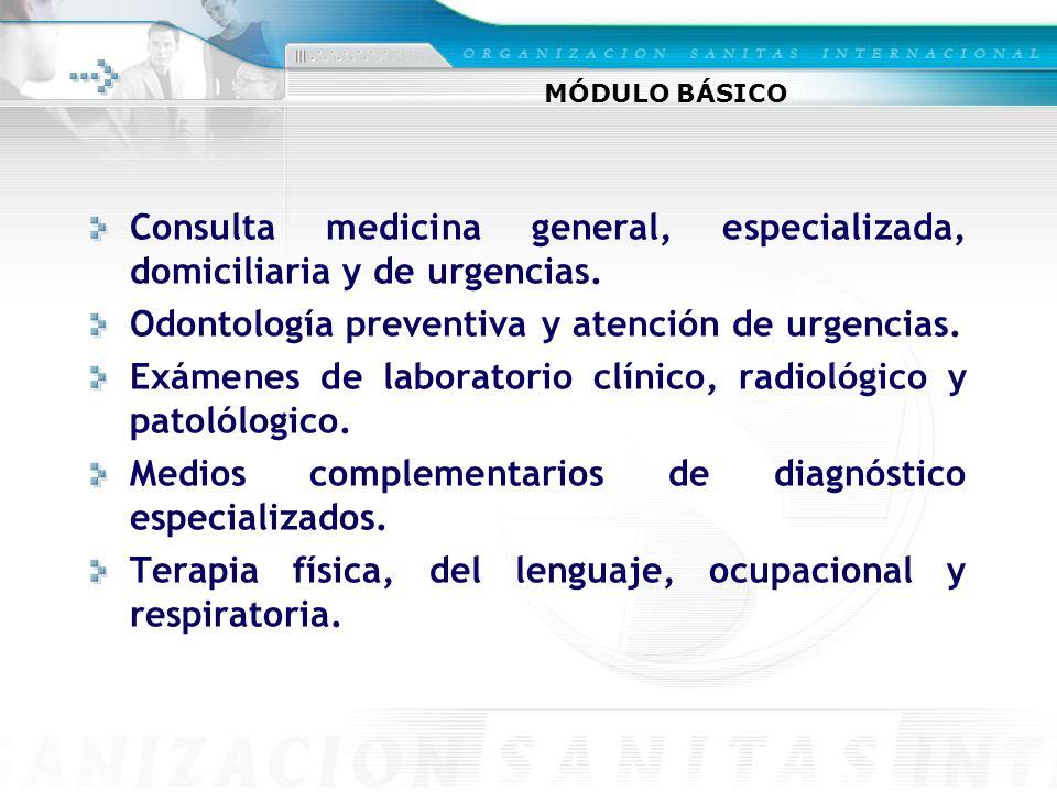 Consulta medicina general, especializada, domiciliaria y de urgencias.