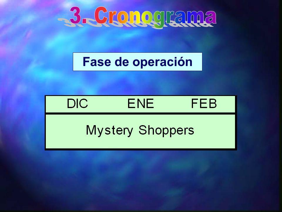 3. Cronograma Fase de operación