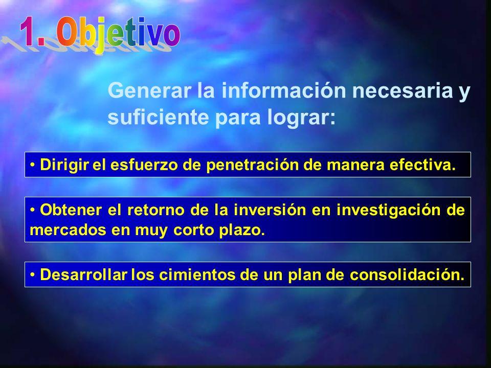 1. Objetivo Generar la información necesaria y suficiente para lograr: