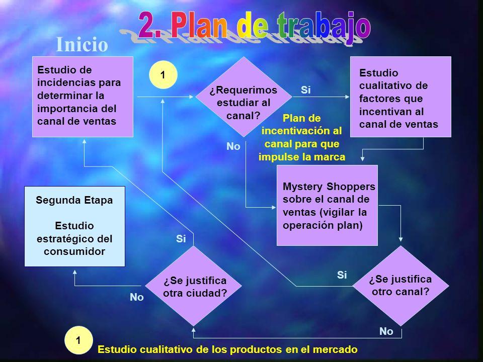 2. Plan de trabajo Inicio. Estudio de incidencias para determinar la importancia del canal de ventas.