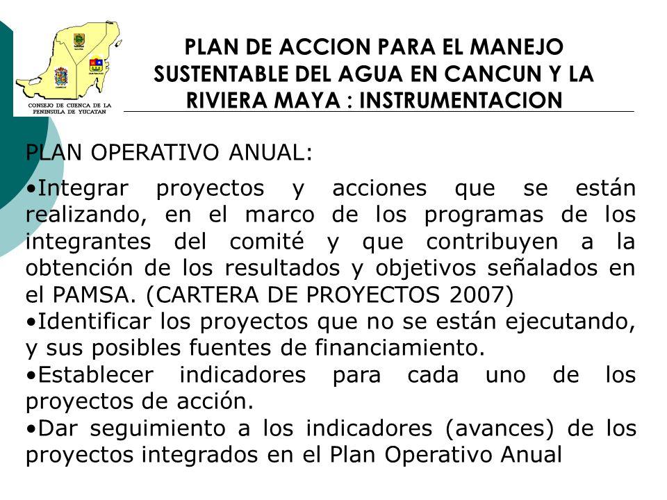 PLAN DE ACCION PARA EL MANEJO SUSTENTABLE DEL AGUA EN CANCUN Y LA RIVIERA MAYA : INSTRUMENTACION