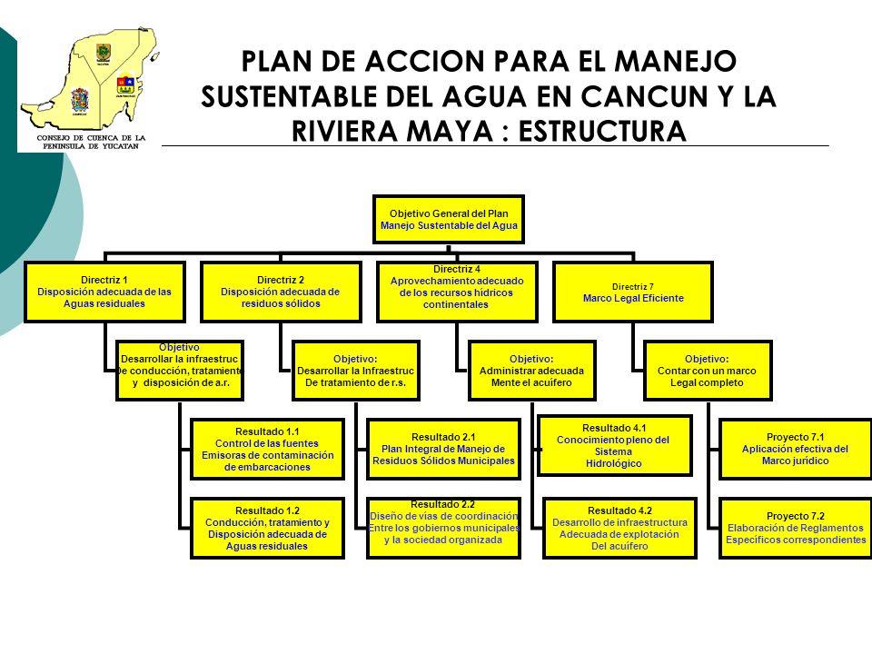 PLAN DE ACCION PARA EL MANEJO SUSTENTABLE DEL AGUA EN CANCUN Y LA RIVIERA MAYA : ESTRUCTURA