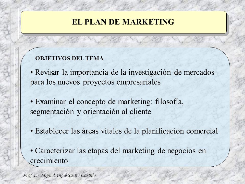 Establecer las áreas vitales de la planificación comercial