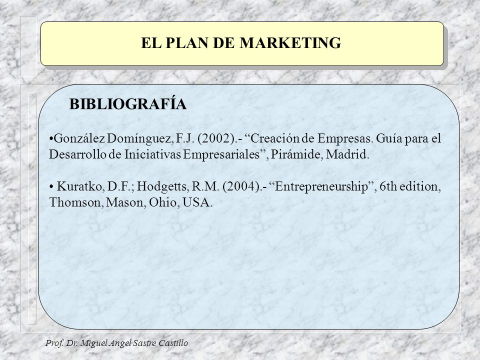 EL PLAN DE MARKETING BIBLIOGRAFÍA