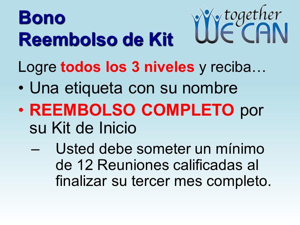 Bono Reembolso de Kit Una etiqueta con su nombre