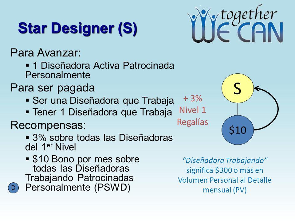 S Star Designer (S) Para Avanzar: Para ser pagada Recompensas: $10