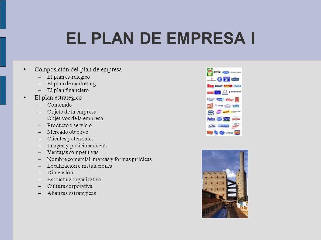 EL PLAN DE EMPRESA I Composición del plan de empresa