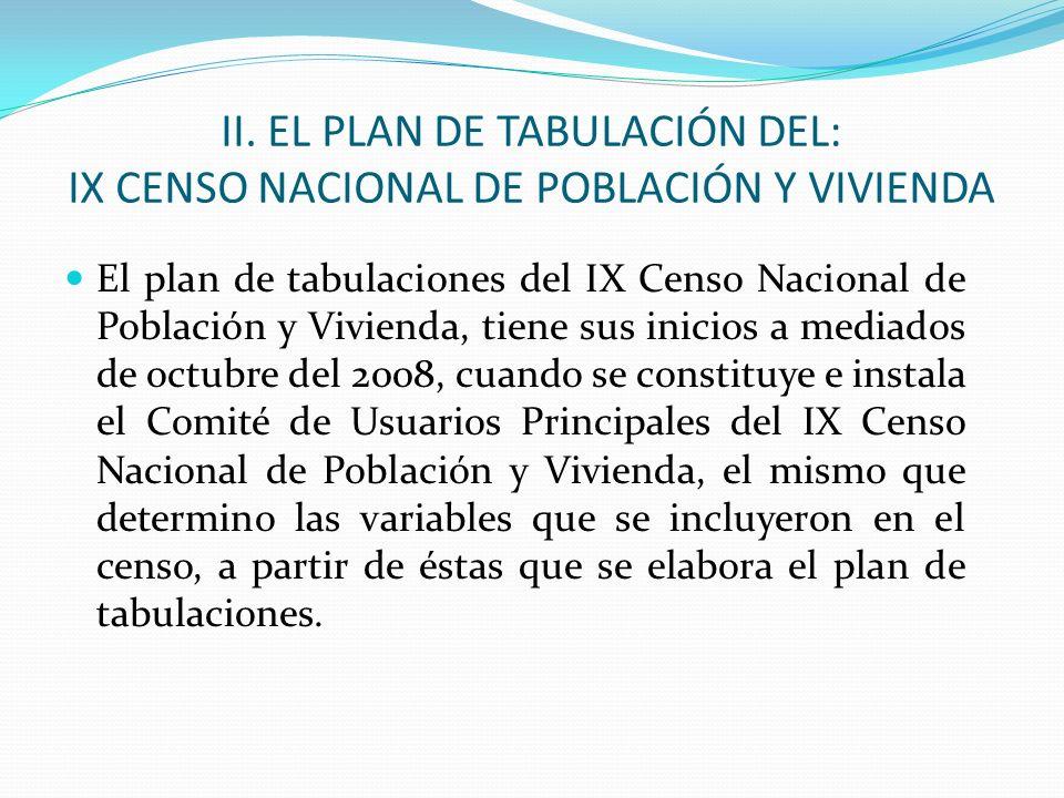 II. EL PLAN DE TABULACIÓN DEL: IX CENSO NACIONAL DE POBLACIÓN Y VIVIENDA