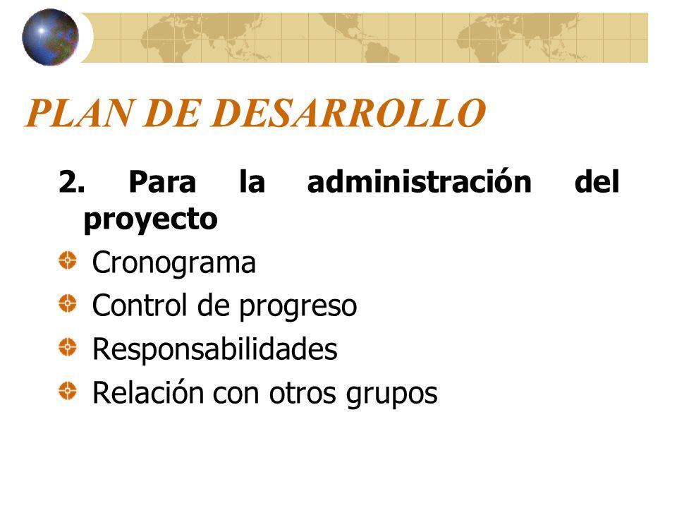 PLAN DE DESARROLLO 2. Para la administración del proyecto Cronograma