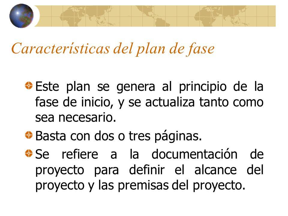 Características del plan de fase