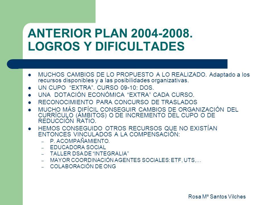 ANTERIOR PLAN 2004-2008. LOGROS Y DIFICULTADES