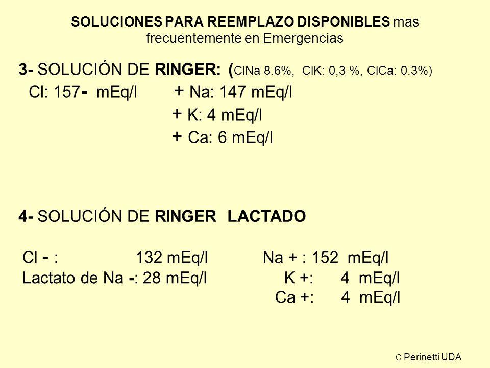 3- SOLUCIÓN DE RINGER: (ClNa 8.6%, ClK: 0,3 %, ClCa: 0.3%)
