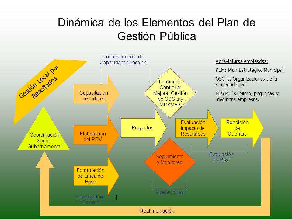 Dinámica de los Elementos del Plan de Gestión Pública