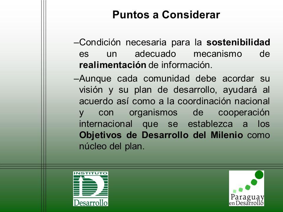 Puntos a Considerar Condición necesaria para la sostenibilidad es un adecuado mecanismo de realimentación de información.