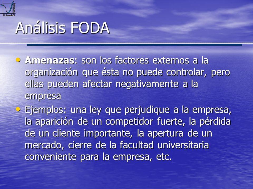 Análisis FODA Amenazas: son los factores externos a la organización que ésta no puede controlar, pero ellas pueden afectar negativamente a la empresa.