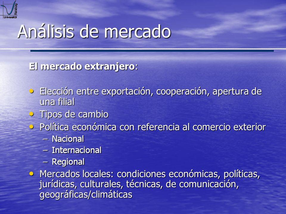 Análisis de mercado El mercado extranjero: