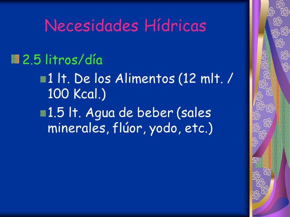 Necesidades Hídricas 2.5 litros/día