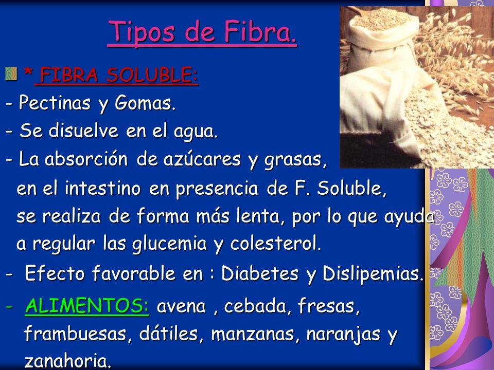 Tipos de Fibra. * FIBRA SOLUBLE: - Pectinas y Gomas.