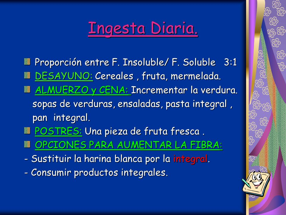 Ingesta Diaria. Proporción entre F. Insoluble/ F. Soluble 3:1