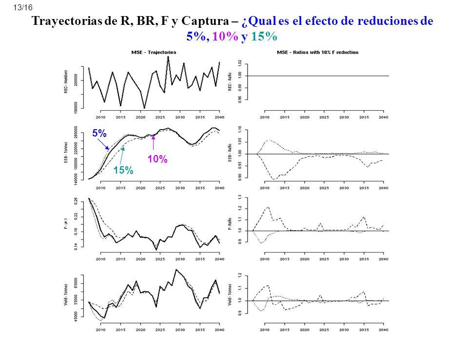 13/16 Trayectorias de R, BR, F y Captura – ¿Qual es el efecto de reduciones de 5%, 10% y 15% 5% 10%