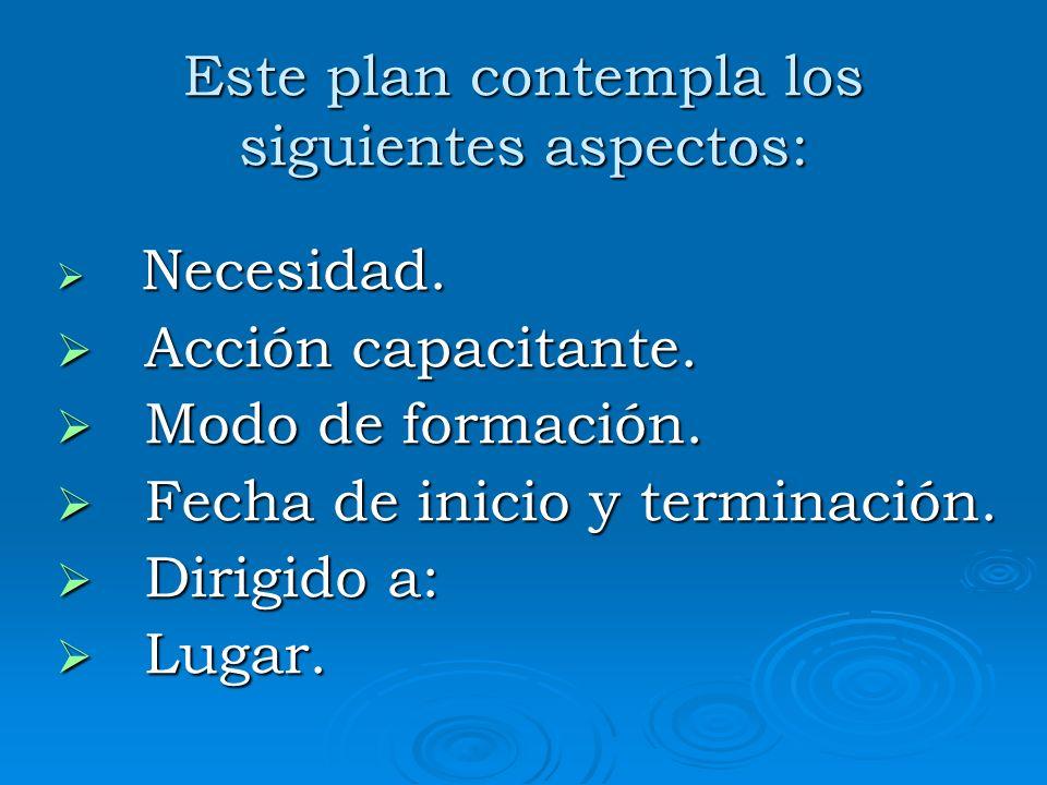 Este plan contempla los siguientes aspectos: