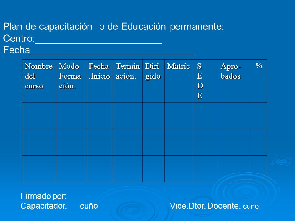 Plan de capacitación o de Educación permanente: