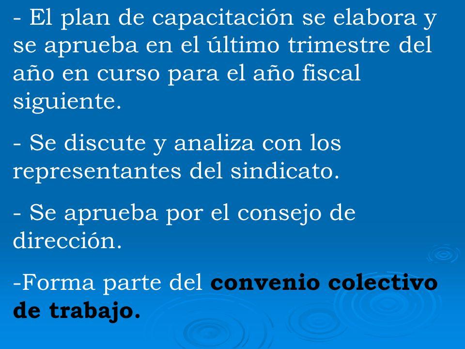 - El plan de capacitación se elabora y se aprueba en el último trimestre del año en curso para el año fiscal siguiente.