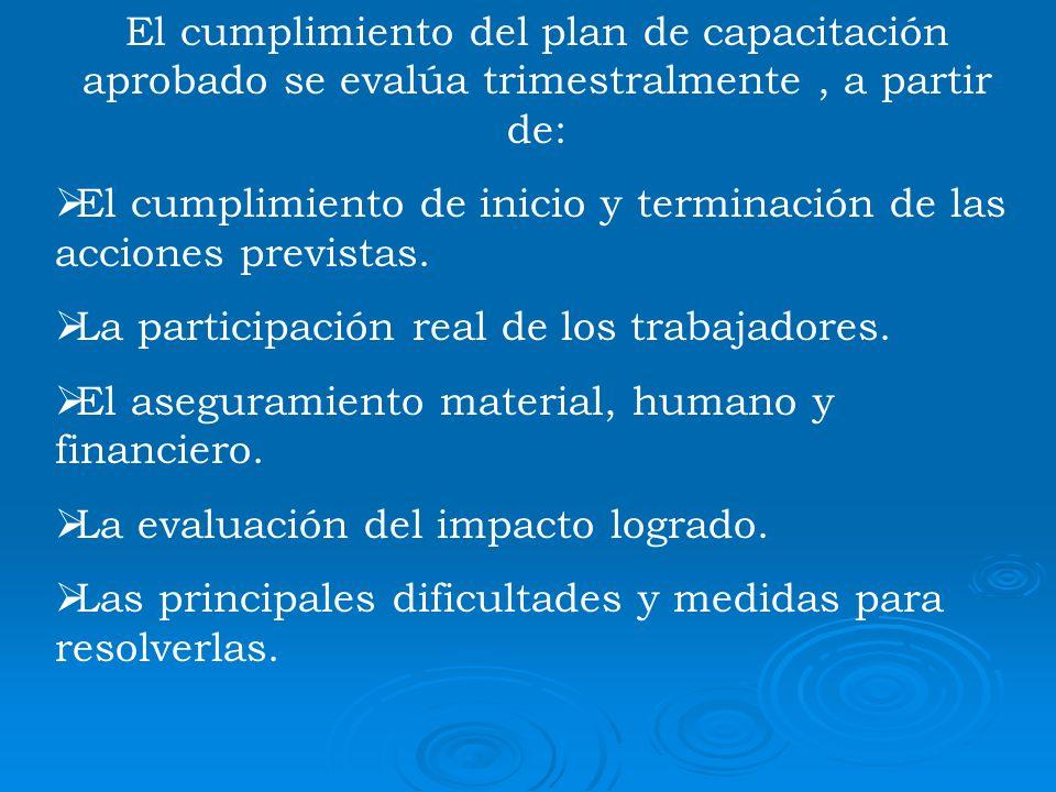 El cumplimiento del plan de capacitación aprobado se evalúa trimestralmente , a partir de: