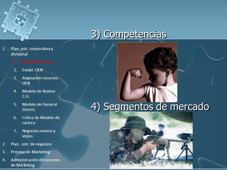 3) Competencias 4) Segmentos de mercado