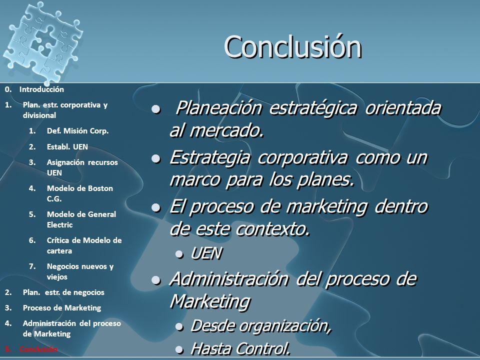 Conclusión Planeación estratégica orientada al mercado.