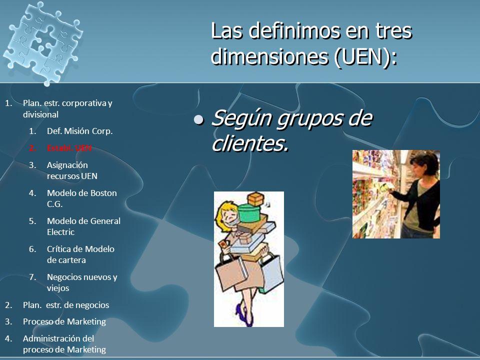 Las definimos en tres dimensiones (UEN):