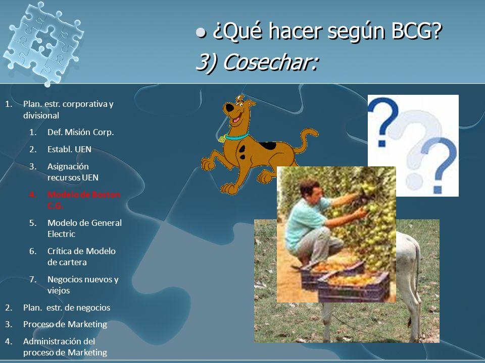¿Qué hacer según BCG 3) Cosechar: