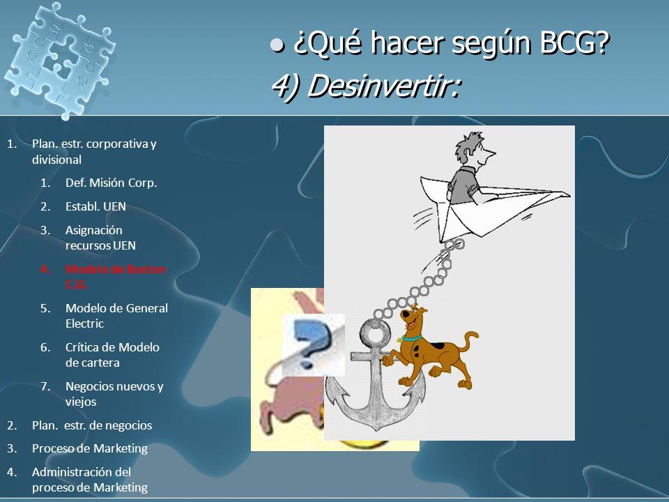 ¿Qué hacer según BCG 4) Desinvertir: