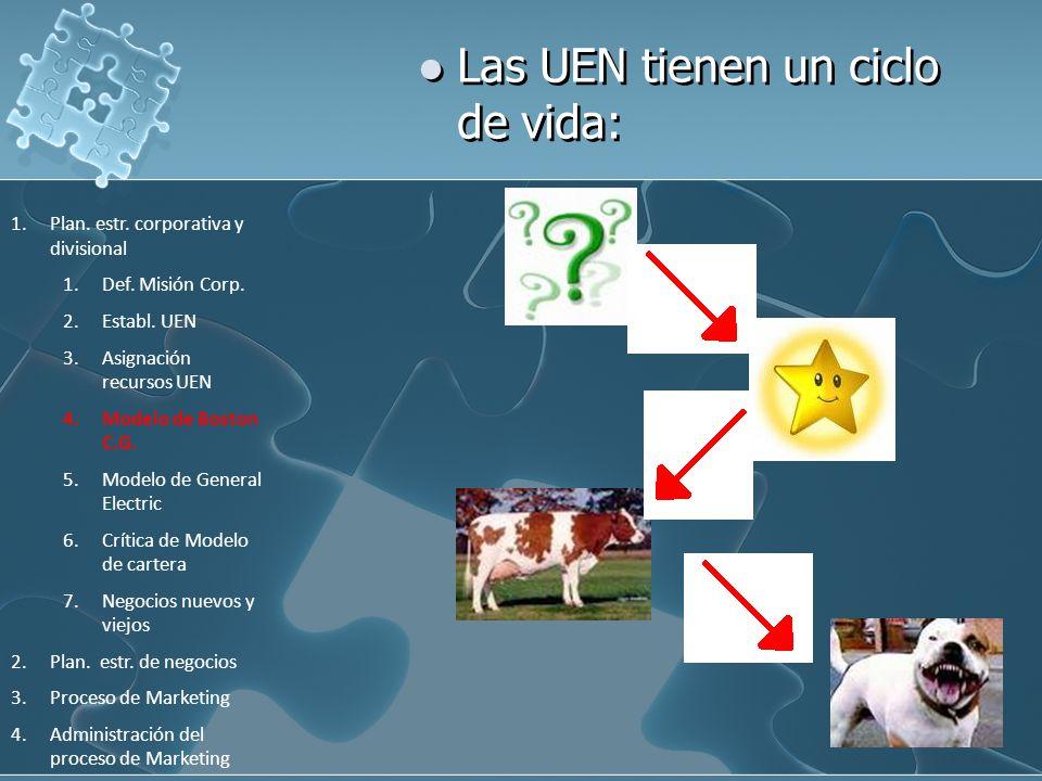 Las UEN tienen un ciclo de vida: