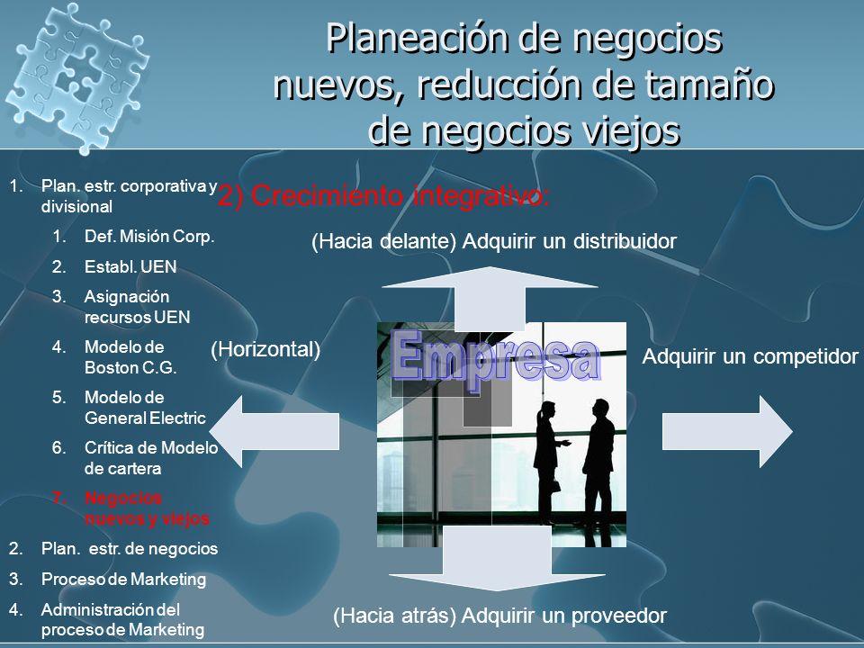 Planeación de negocios nuevos, reducción de tamaño de negocios viejos