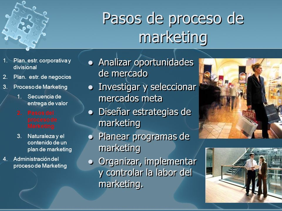 Pasos de proceso de marketing