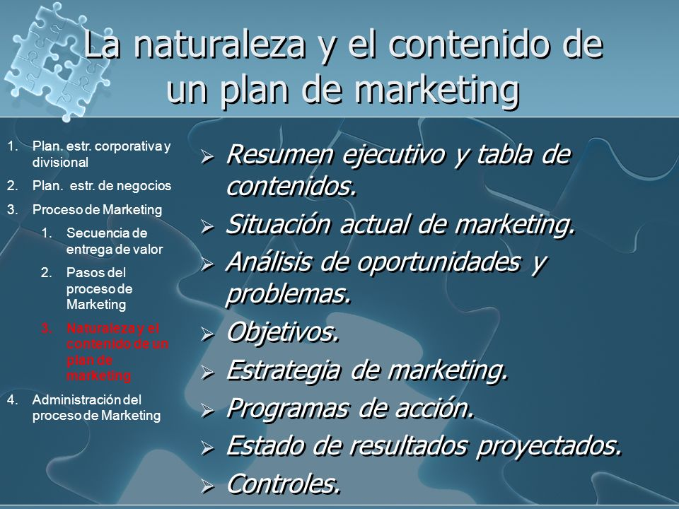 La naturaleza y el contenido de un plan de marketing