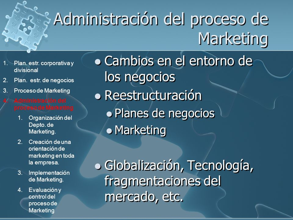 Administración del proceso de Marketing