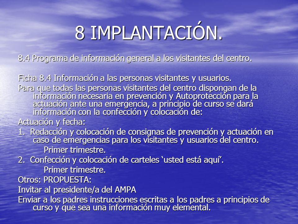 8 IMPLANTACIÓN. 8.4 Programa de información general a los visitantes del centro. Ficha 8.4 Información a las personas visitantes y usuarios.